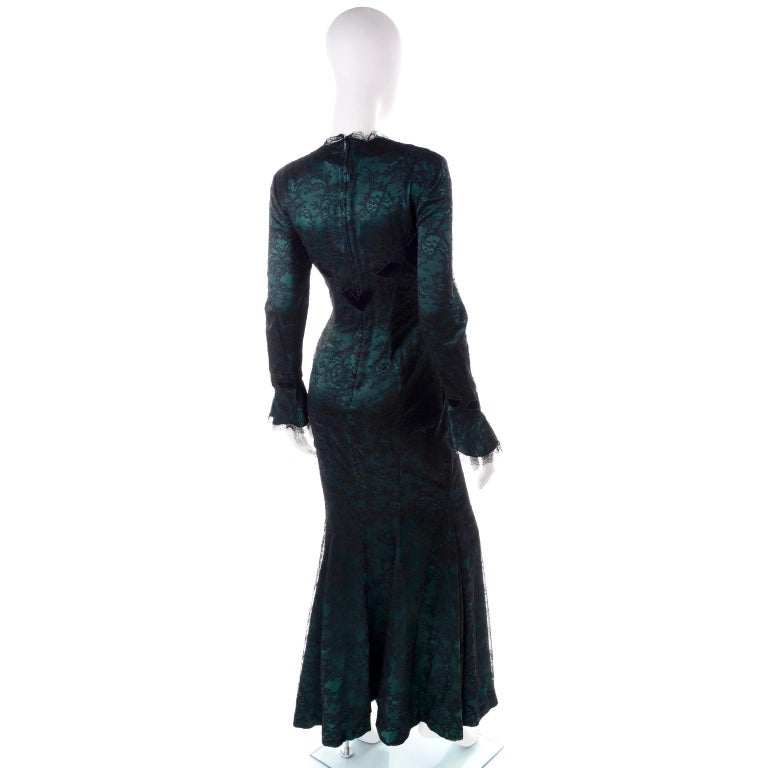 Vintage Thierry Mugler Long Green Silk Evening Dress W Black Velvet Lace  For Sale 2
