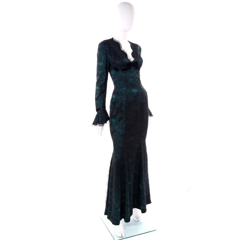 Vintage Thierry Mugler Long Green Silk Evening Dress W Black Velvet Lace  For Sale 3