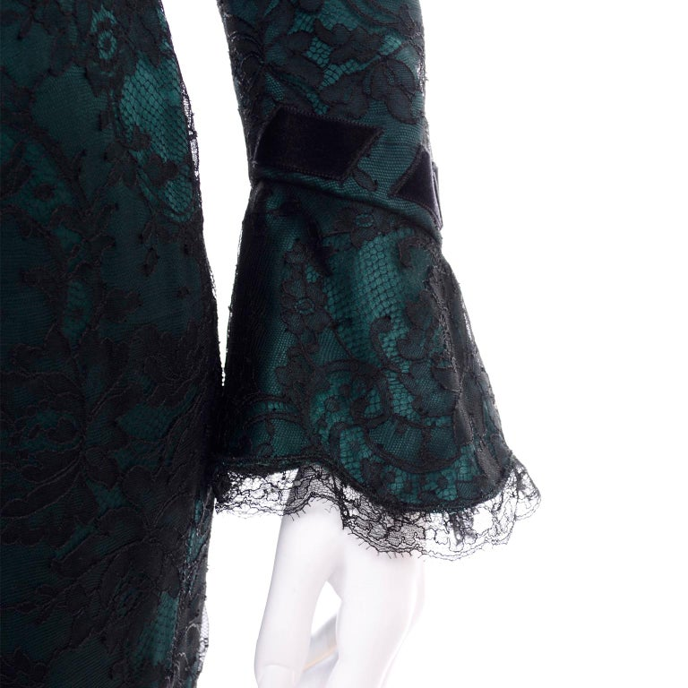 Vintage Thierry Mugler Long Green Silk Evening Dress W Black Velvet Lace  For Sale 4