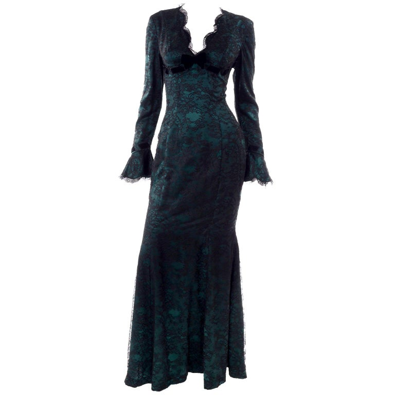 Vintage Thierry Mugler Long Green Silk Evening Dress W Black Velvet Lace  For Sale