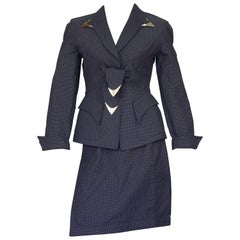 Vintage THIERRY MUGLER Metal Appliques Bow Polka Dot Jacket Skirt Suit