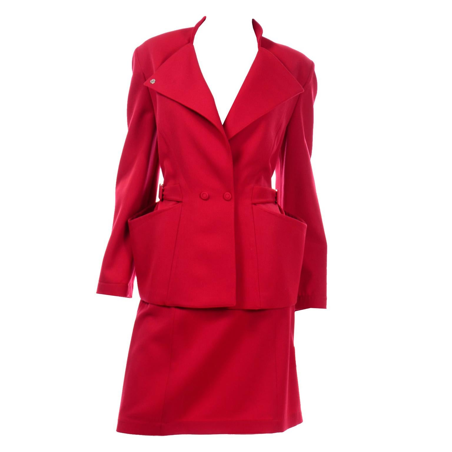Vintage Thierry Mugler Paris Cherry Red Wool Skirt & Jacket Suit