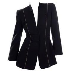 Vintage Thierry Mugler Paris vintage Black Blazer Jacket With Ball Chain Detail