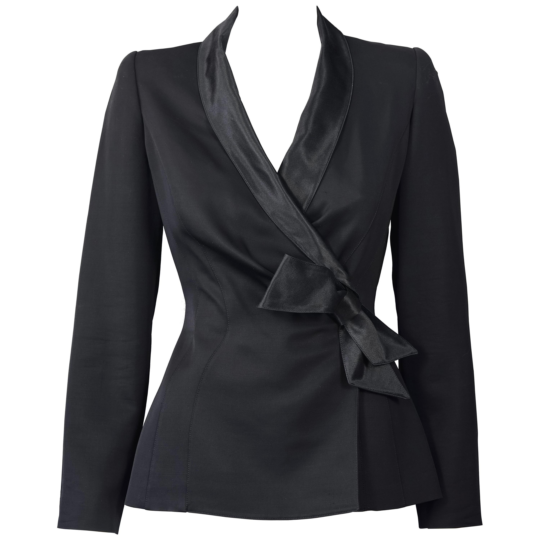 Vintage THIERRY MUGLER PARIS Wrap Silk Bow Jacket