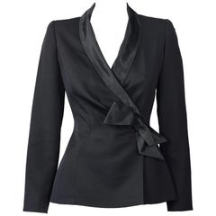 Vintage THIERRY MUGLER PARIS Wrap Silk Bow Jacket