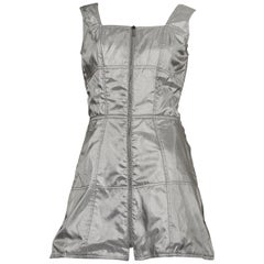 Vintage THIERRY MUGLER Quilted Silver Space Age Futuristic Dress