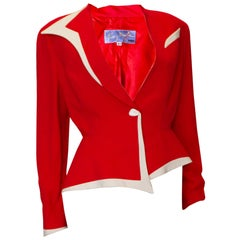 Vintage Thierry Mugler Red and White Jacket