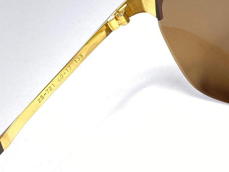 Brown Vintage Thierry Mugler Rimless Gold Lenses Medium Size 1980's Paris Sunglasses For Sale