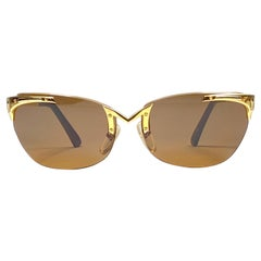 Vintage Thierry Mugler Rimless Gold Lenses Medium Size 1980's Paris Sunglasses