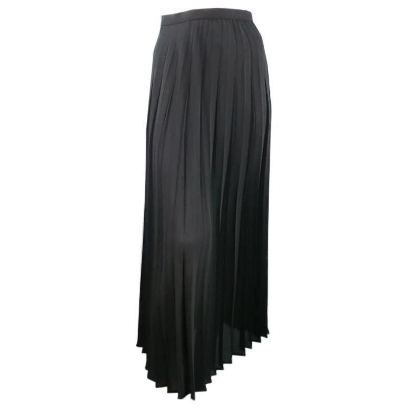 Vintage THIERRY MUGLER Size 10 Black Pleated Midi Skirt