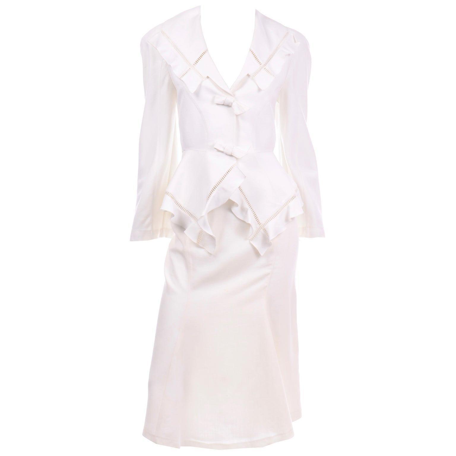Vintage Thierry Mugler White Linen Blend Skirt & Peplum Jacket Suit With Ruffles