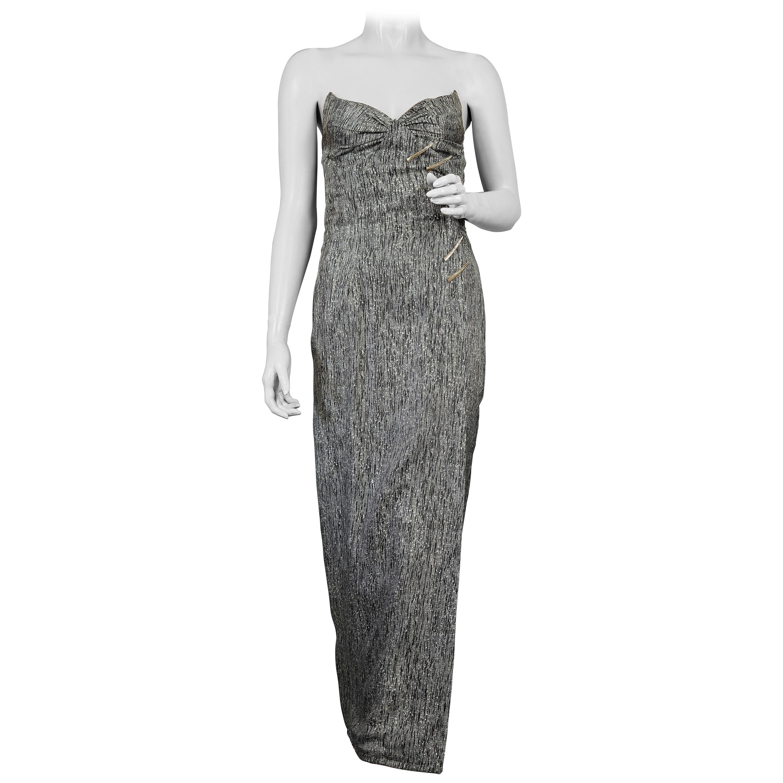 Vintage THIERRY MUGLER Wing Metal Embellished Metallic Bustier Evening Dress