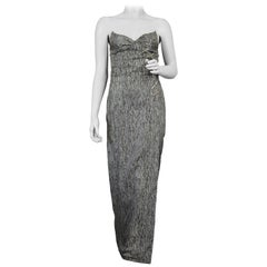 Vintage THIERRY MUGLER Wing Metal Embellished Metallic Bustier Evening Dress
