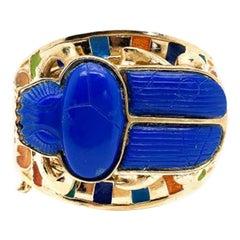 Vintage Thomas Fattorini Egyptian Revival Scarab Bracelet Cuff 1970S