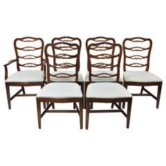 Vintage Thomasville Mahogany Ladderback Ribbon Back Dining Chairs, Set of 6