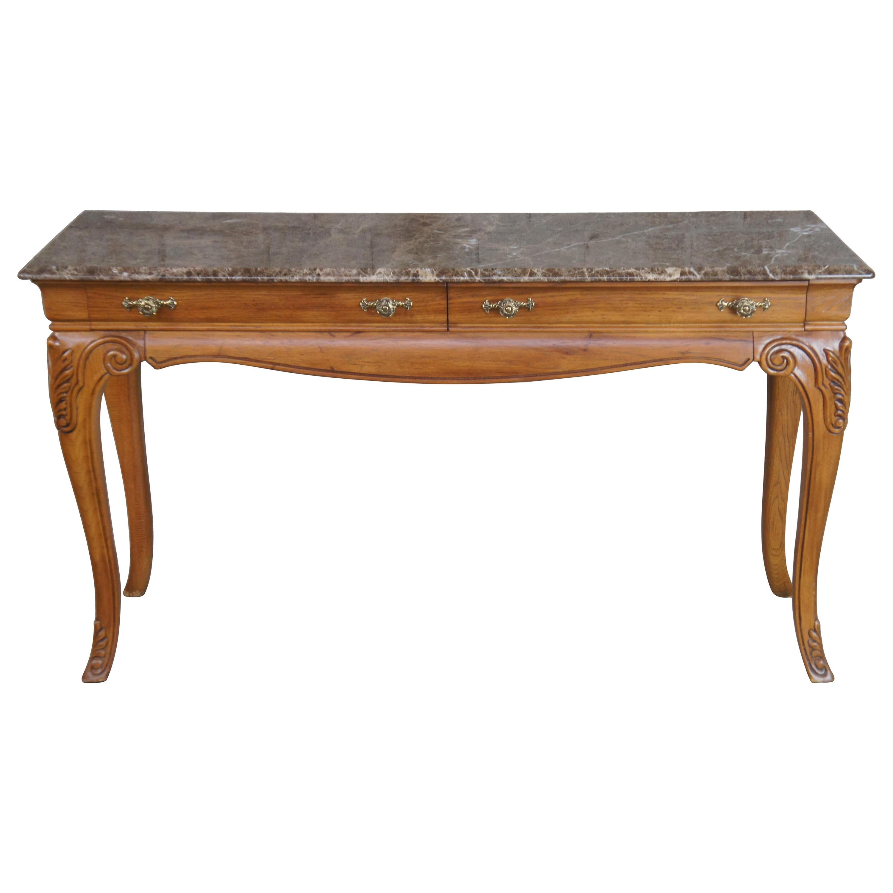 Vintage Thomasville Oak & Marble French Country Sofa Table Console Sideboard
