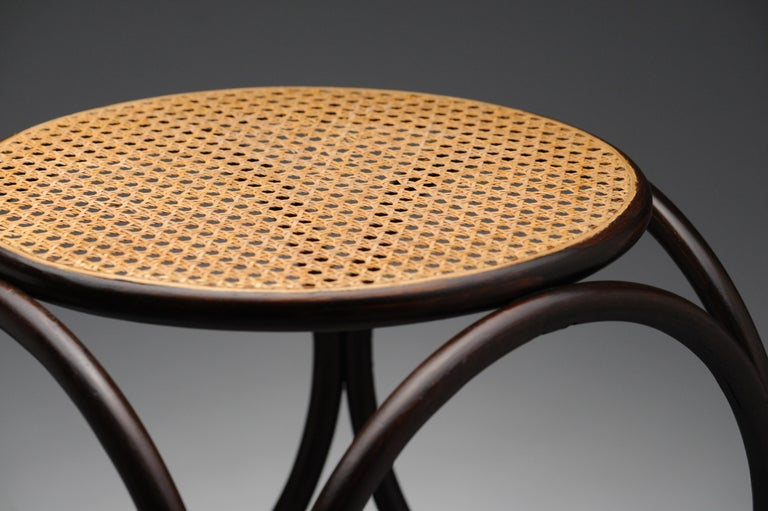 Mid-20th Century Vintage Thonet Bentwood Circular Stool For Sale