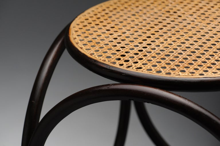 Cane Vintage Thonet Bentwood Circular Stool For Sale