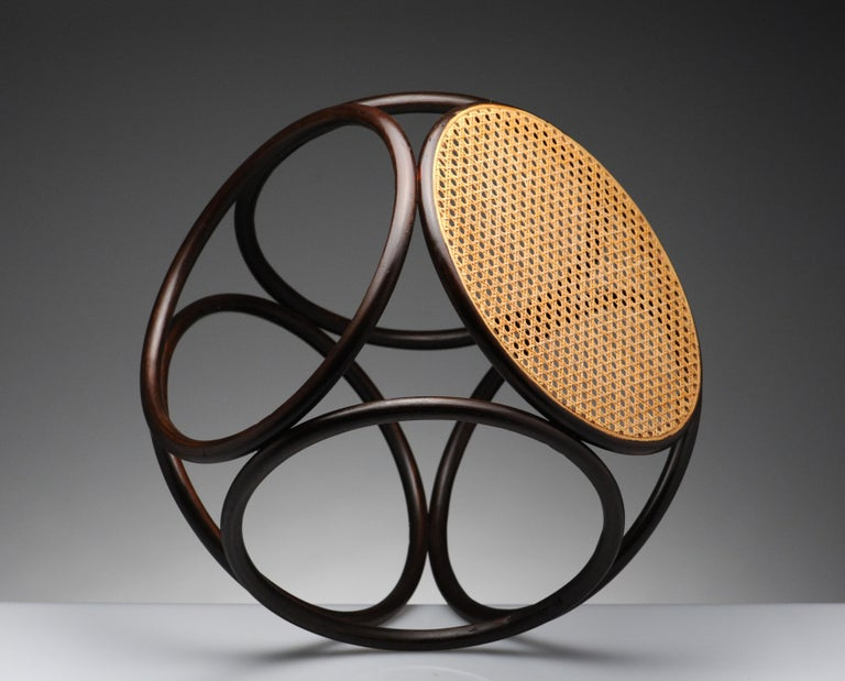 Vintage Thonet Bentwood Circular Stool For Sale 3