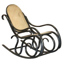 Vintage Thonet Ebonized Black Rattan Berger Rocking Chair Lovely Small Armchair