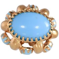 Vintage Three-Dimensional Natural Turquoise Gold 18 Karat Charm or Pendant