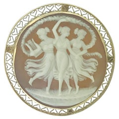 Vintage Cameo Brooch/Pin of Three Graces in 14 Karat Yellow Gold Filigree Frame