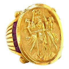 Vintage Three Graces Ruby 18 Karat Gold Ring