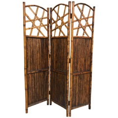 Vintage Three-Panel Bamboo Screen