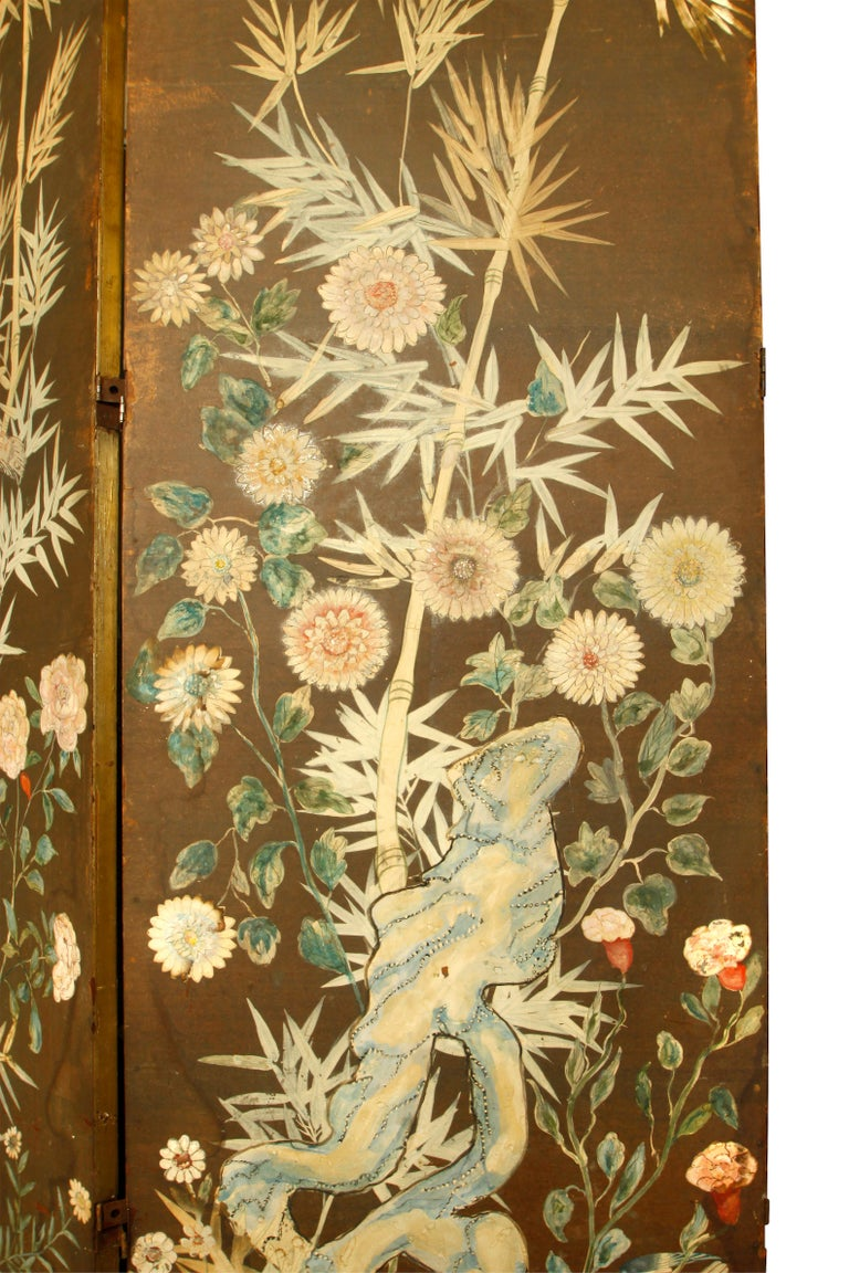 Vintage three-panel hand painted screen, branch, bird and floral design.
