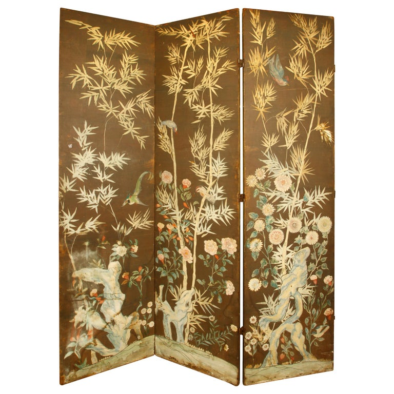 Vintage Three-Panel Hand Painted Screen For Sale