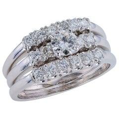 Vintage Three-Ring Diamond White Gold Engagement Ring Set