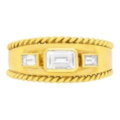 Vintage Three-Stone Diamond Band Ring, circa 1960s