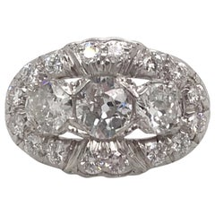 Vintage Three-Stone Diamond Ring Platinum 2 Carat
