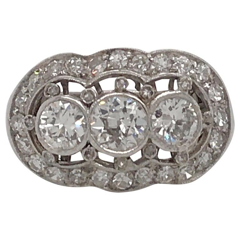 Vintage Three-Stone Diamond Ring Platinum 2 Carat For Sale