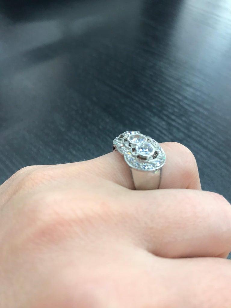 Vintage Three-Stone Diamond Ring Platinum 2 Carat For Sale 4