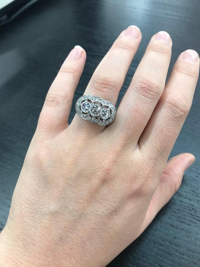 Vintage Three-Stone Diamond Ring Platinum 2 Carat For Sale 5