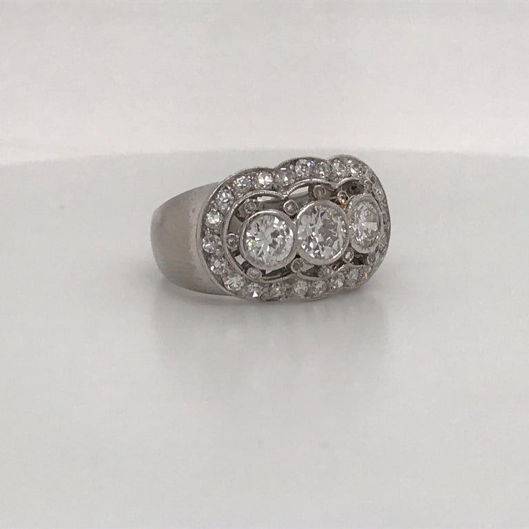 Art Deco Vintage Three-Stone Diamond Ring Platinum 2 Carat For Sale