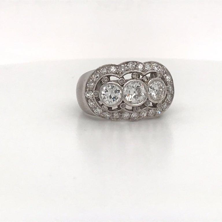 Round Cut Vintage Three-Stone Diamond Ring Platinum 2 Carat For Sale