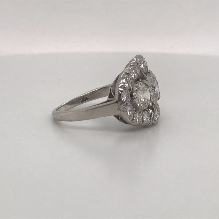 Vintage Three-Stone Diamond Ring Platinum 2 Carat In Excellent Condition For Sale In New York, NY