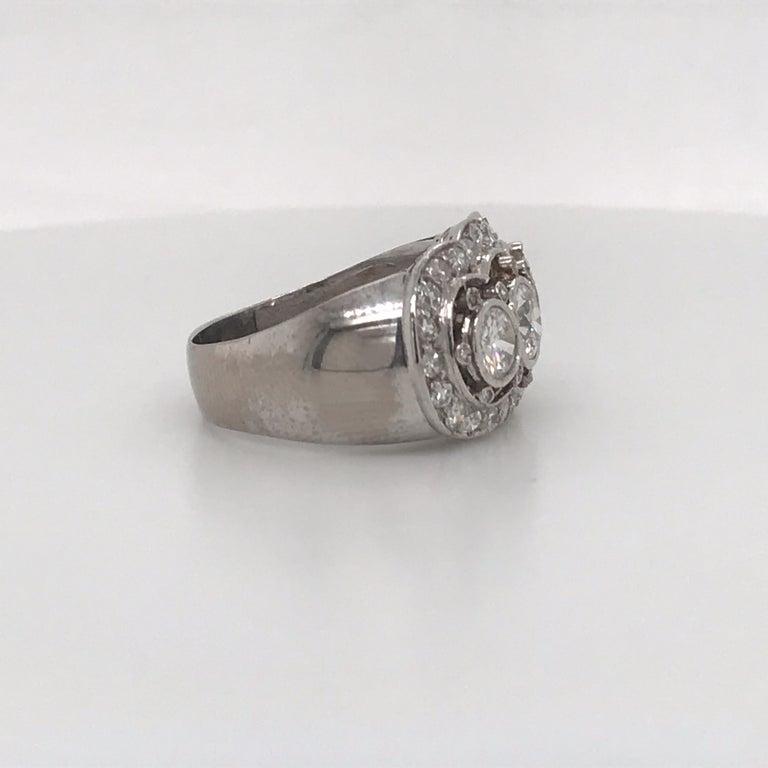 Women's Vintage Three-Stone Diamond Ring Platinum 2 Carat For Sale