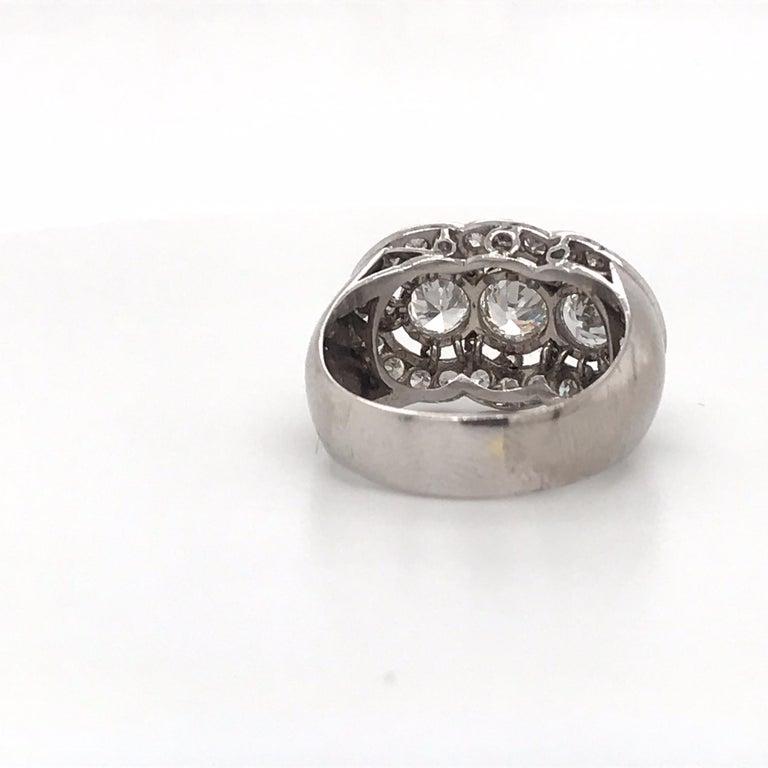 Vintage Three-Stone Diamond Ring Platinum 2 Carat For Sale 2