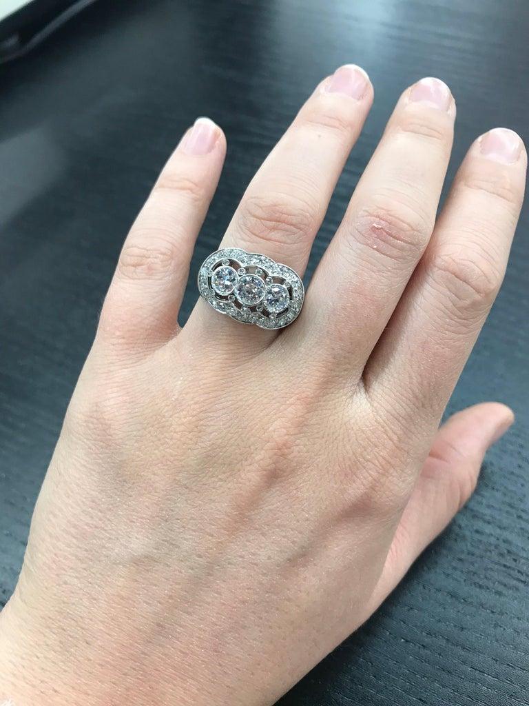 Vintage Three-Stone Diamond Ring Platinum 2 Carat For Sale 3