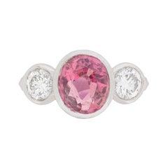 Vintage Three-Stone Tourmaline and Diamond Ring, circa 1960s