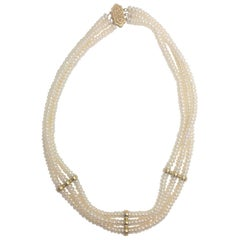 Vintage Three-Strand Fresh Water Button Pearl Choker Necklace