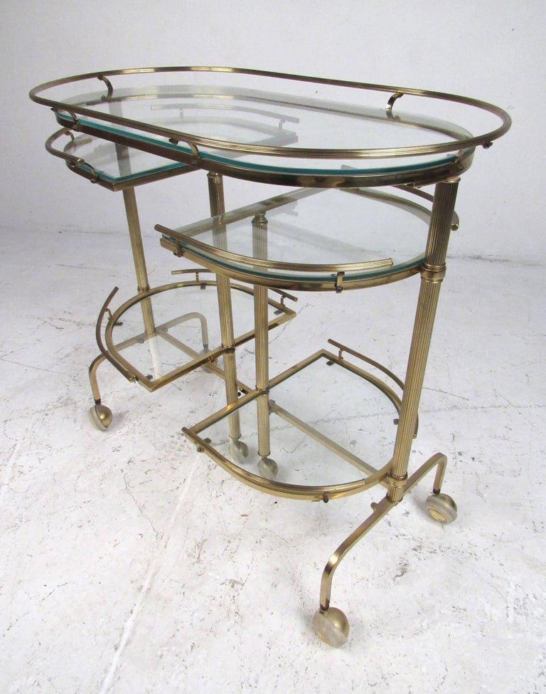 Mid-Century Modern Vintage Three-Tier Brass Service/Bar Cart For Sale