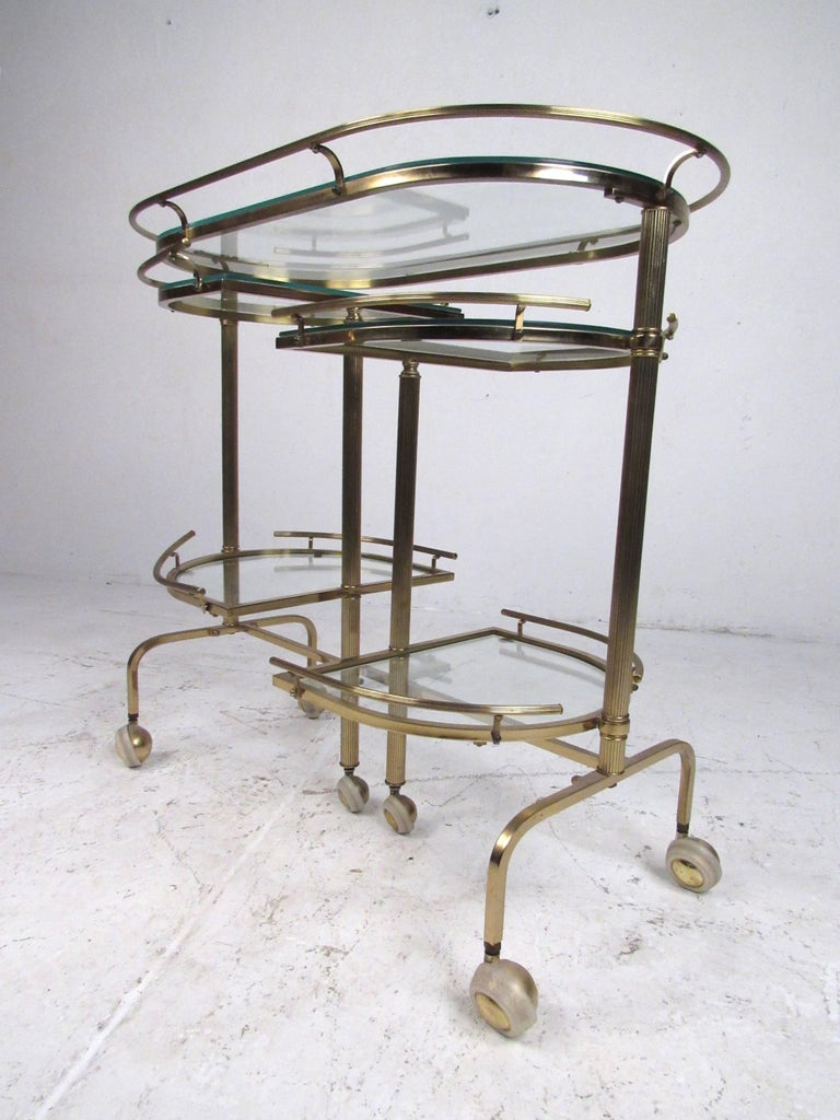 American Vintage Three-Tier Brass Service/Bar Cart For Sale