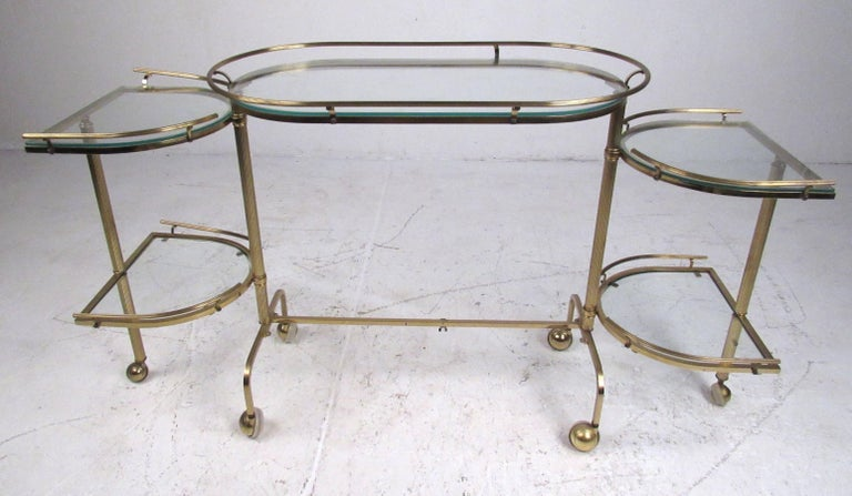 Mid-20th Century Vintage Three-Tier Brass Service/Bar Cart For Sale