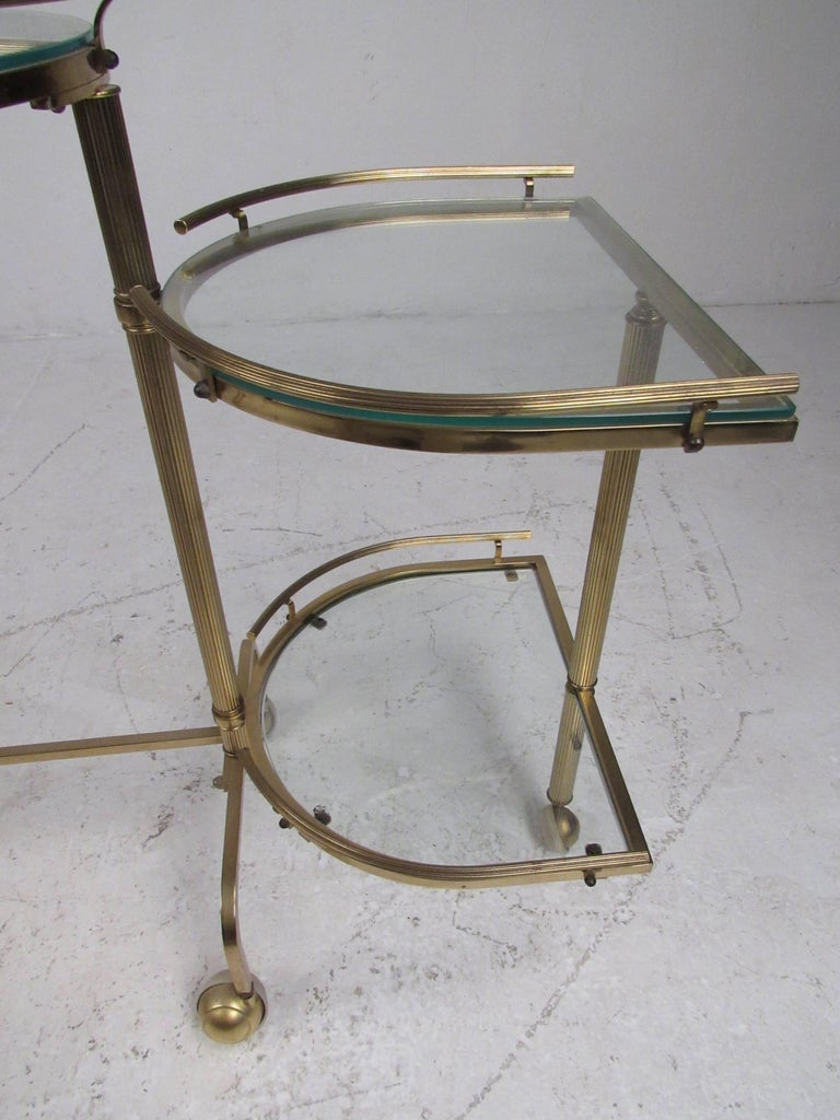 Vintage Three-Tier Brass Service/Bar Cart For Sale 1