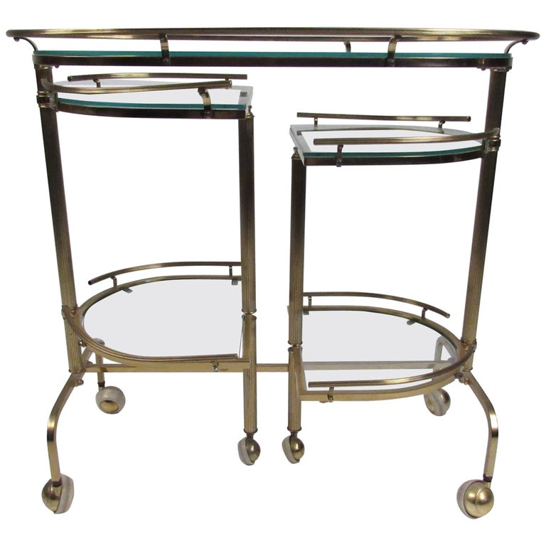 Vintage Three-Tier Brass Service/Bar Cart For Sale