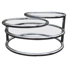 Vintage Three Tier Swivel Glass & Chrome Coffee Table